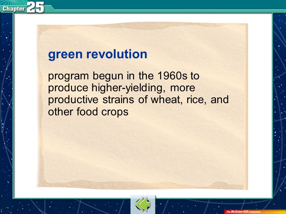 Vocab3 green revolution program begun in the 1960s to produce higher-yielding, more productive strains of wheat, rice, and other food crops