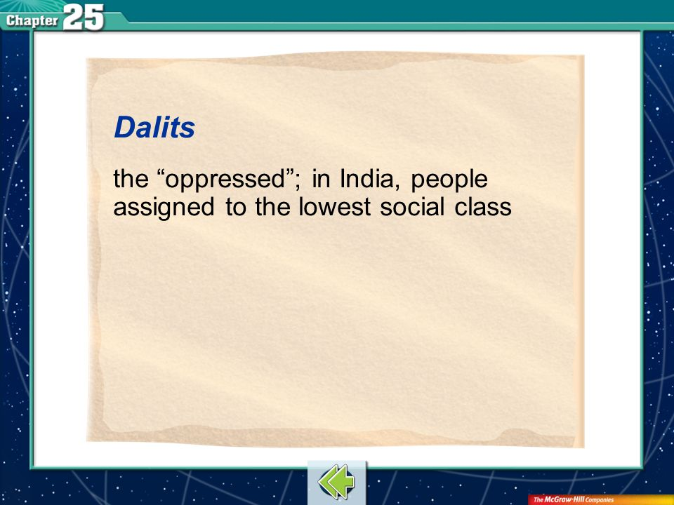 Vocab12 Dalits the oppressed ; in India, people assigned to the lowest social class