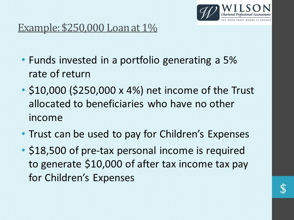 Example: $250,000 Loan at 1% Funds invested in a portfolio generating a 5% rate of return $10,000 ($250,000 x 4%) net income of the Trust allocated to beneficiaries who have no other income Trust can be used to pay for Children's Expenses $18,500 of pre-tax personal income is required to generate $10,000 of after tax income tax pay for Children's Expenses
