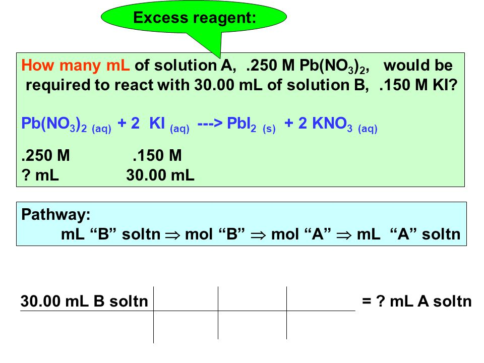 How many mL of solution A,.250 M Pb(NO 3 ) 2, would be required to react with mL of solution B,.150 M KI.