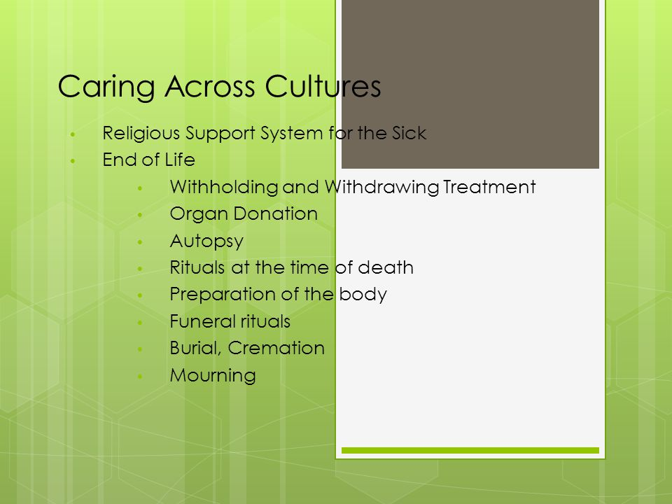 Caring Across Cultures Religious Support System for the Sick End of Life Withholding and Withdrawing Treatment Organ Donation Autopsy Rituals at the time of death Preparation of the body Funeral rituals Burial, Cremation Mourning