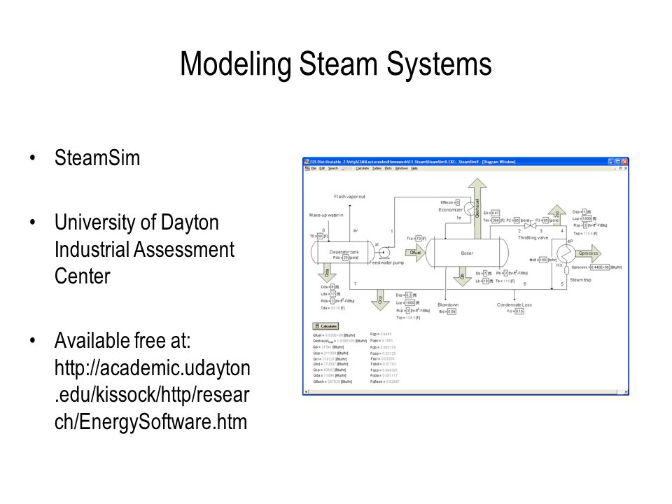 Modeling Steam Systems SteamSim University of Dayton Industrial Assessment Center Available free at: http://academic.udayton.edu/kissock/http/resear ch/EnergySoftware.htm