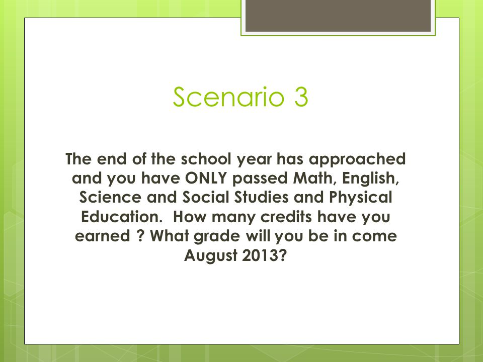 Scenario2 The end of the school year has approached and you have passed ALL of your classes except Math and English.