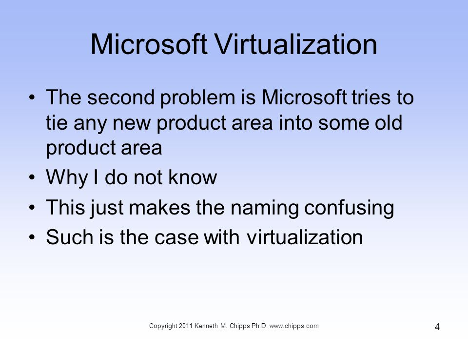 Microsoft Virtualization The second problem is Microsoft tries to tie any new product area into some old product area Why I do not know This just makes the naming confusing Such is the case with virtualization Copyright 2011 Kenneth M.