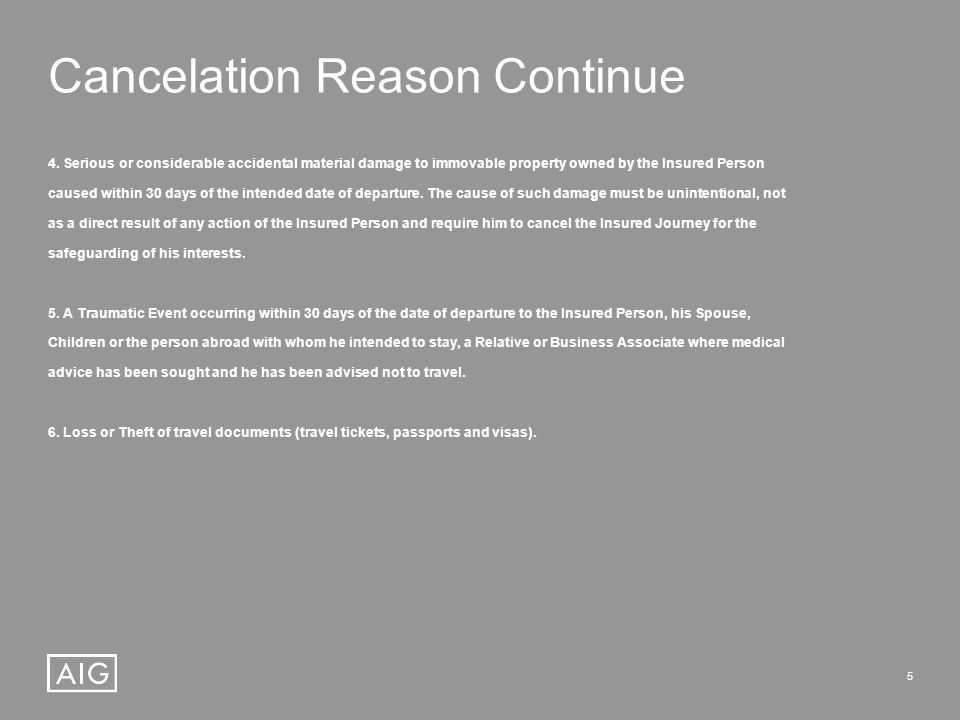 5 Cancelation Reason Continue 4.