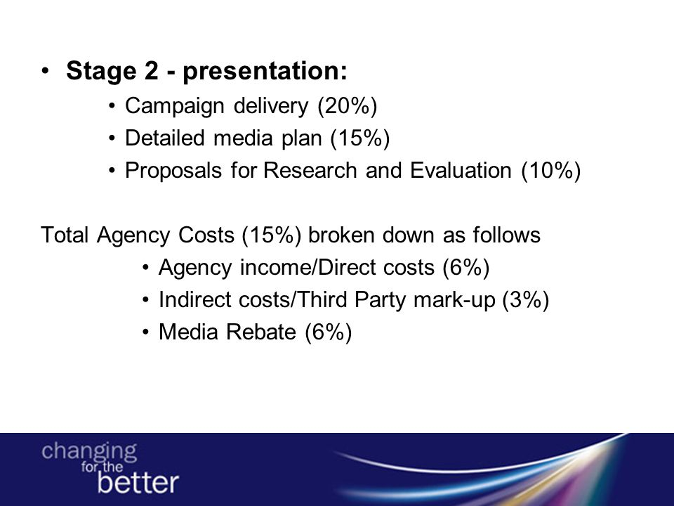 Stage 2 - presentation: Campaign delivery (20%) Detailed media plan (15%) Proposals for Research and Evaluation (10%) Total Agency Costs (15%) broken down as follows Agency income/Direct costs (6%) Indirect costs/Third Party mark-up (3%) Media Rebate (6%)