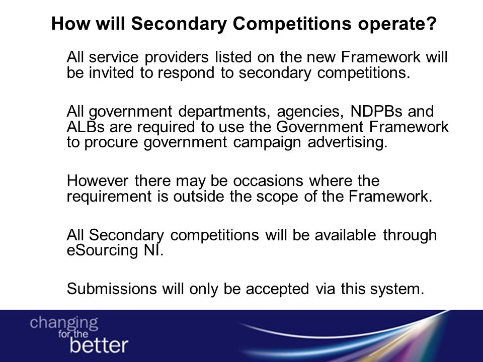 How will Secondary Competitions operate.