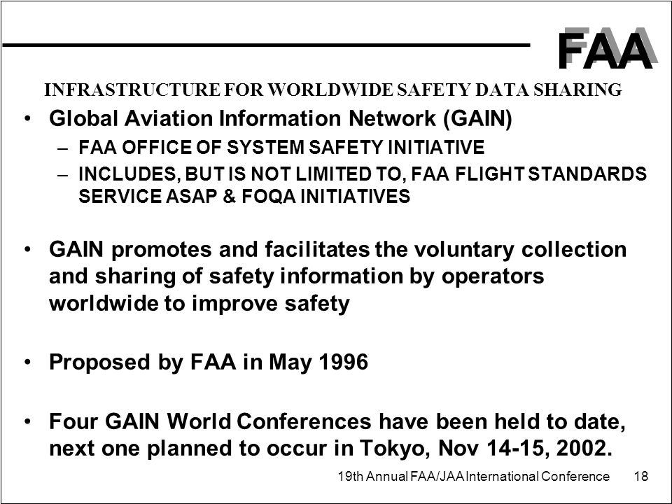 FAA 19th Annual FAA/JAA International Conference 18 INFRASTRUCTURE FOR WORLDWIDE SAFETY DATA SHARING Global Aviation Information Network (GAIN) –FAA OFFICE OF SYSTEM SAFETY INITIATIVE –INCLUDES, BUT IS NOT LIMITED TO, FAA FLIGHT STANDARDS SERVICE ASAP & FOQA INITIATIVES GAIN promotes and facilitates the voluntary collection and sharing of safety information by operators worldwide to improve safety Proposed by FAA in May 1996 Four GAIN World Conferences have been held to date, next one planned to occur in Tokyo, Nov 14-15, 2002.
