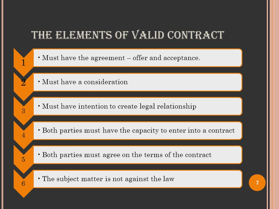 THE ELEMENTS OF VALID CONTRACT 1 Must have the agreement – offer and acceptance.