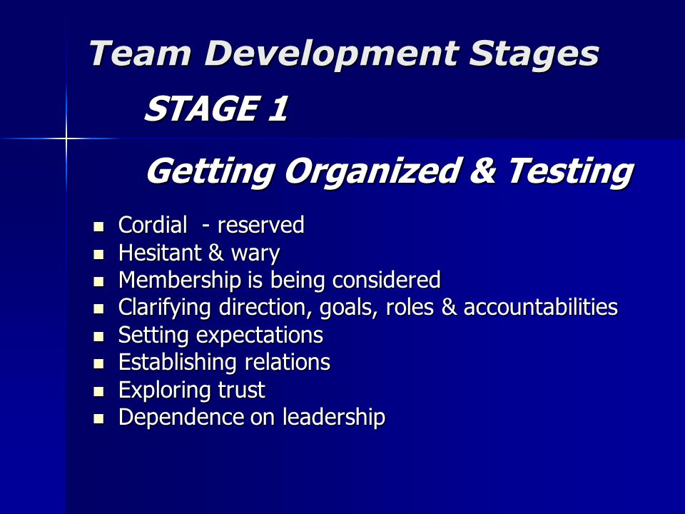 Team Development Stages STAGE 1 STAGE 1 Getting Organized & Testing Getting Organized & Testing Cordial - reserved Cordial - reserved Hesitant & wary Hesitant & wary Membership is being considered Membership is being considered Clarifying direction, goals, roles & accountabilities Clarifying direction, goals, roles & accountabilities Setting expectations Setting expectations Establishing relations Establishing relations Exploring trust Exploring trust Dependence on leadership Dependence on leadership