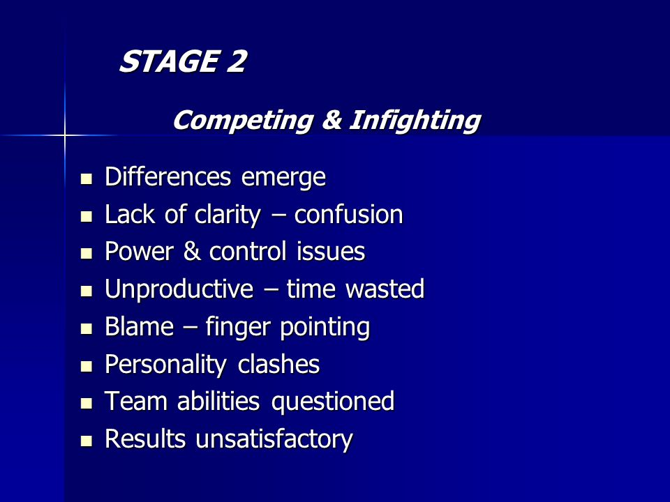 STAGE 2 STAGE 2 Competing & Infighting Competing & Infighting Differences emerge Differences emerge Lack of clarity – confusion Lack of clarity – confusion Power & control issues Power & control issues Unproductive – time wasted Unproductive – time wasted Blame – finger pointing Blame – finger pointing Personality clashes Personality clashes Team abilities questioned Team abilities questioned Results unsatisfactory Results unsatisfactory