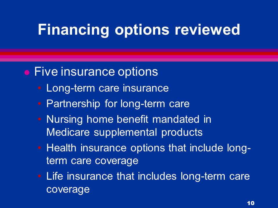 10 Financing options reviewed l Five insurance options Long-term care insurance Partnership for long-term care Nursing home benefit mandated in Medicare supplemental products Health insurance options that include long- term care coverage Life insurance that includes long-term care coverage