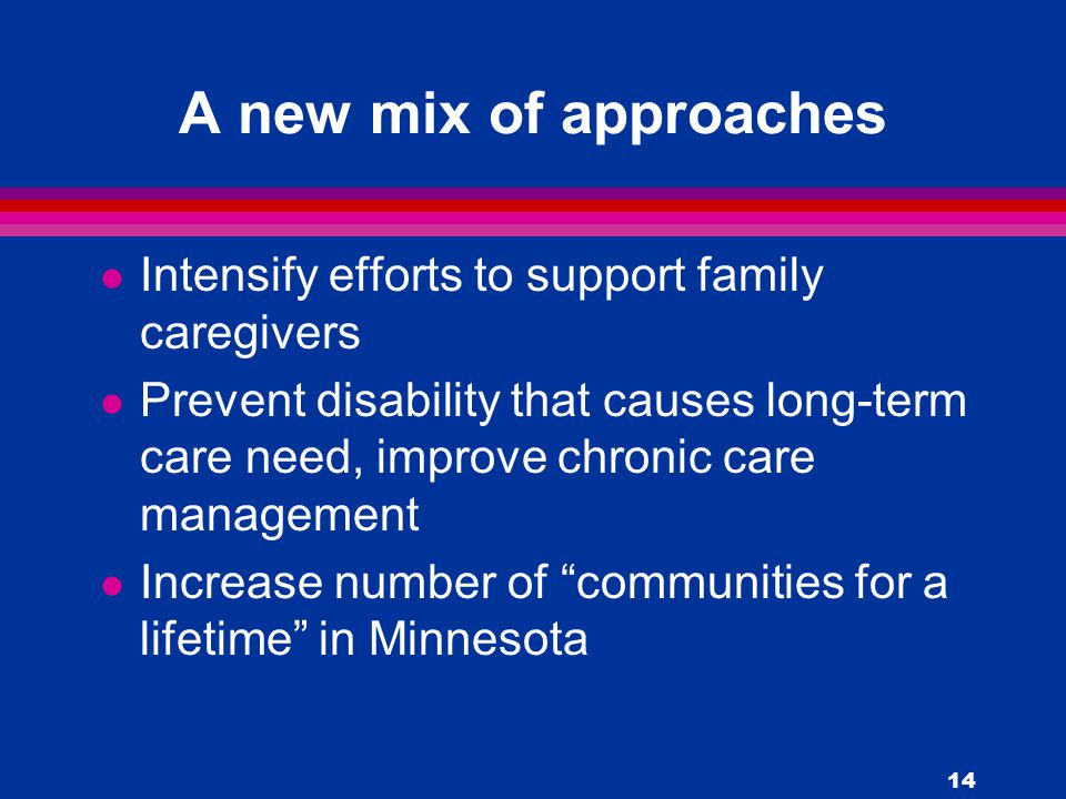 14 A new mix of approaches l Intensify efforts to support family caregivers l Prevent disability that causes long-term care need, improve chronic care management l Increase number of communities for a lifetime in Minnesota