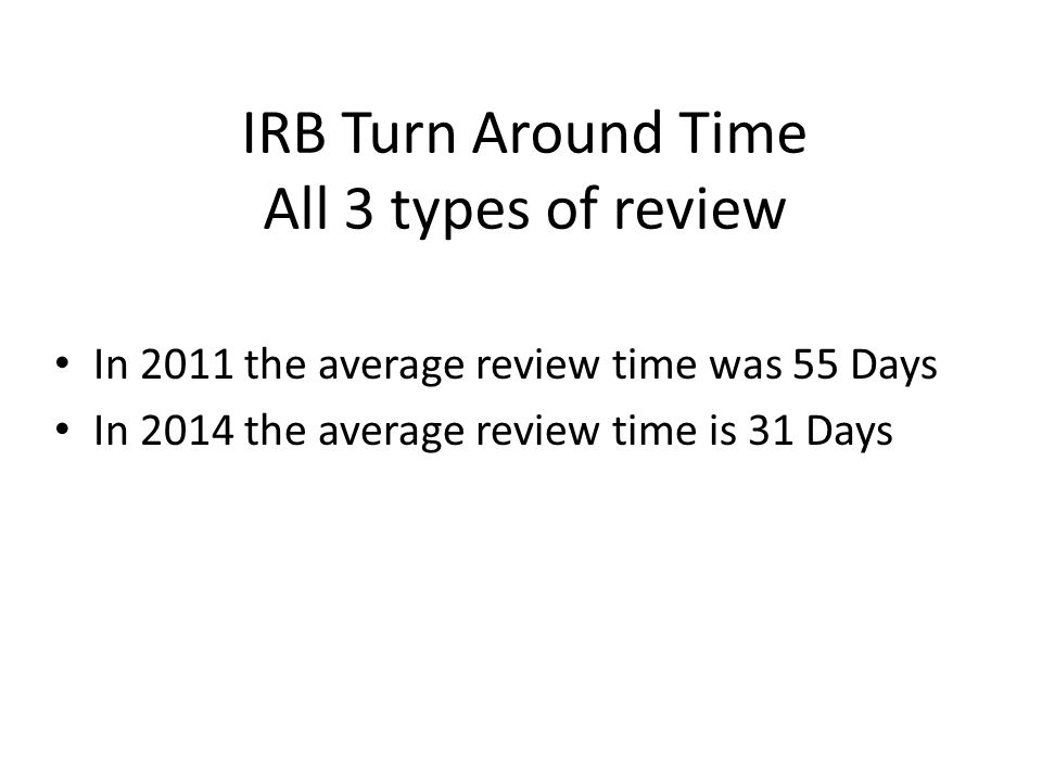 IRB Turn Around Time All 3 types of review In 2011 the average review time was 55 Days In 2014 the average review time is 31 Days