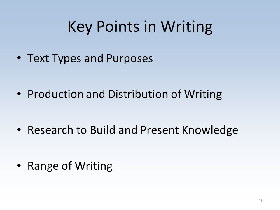 Key Points in Writing Text Types and Purposes Production and Distribution of Writing Research to Build and Present Knowledge Range of Writing 16