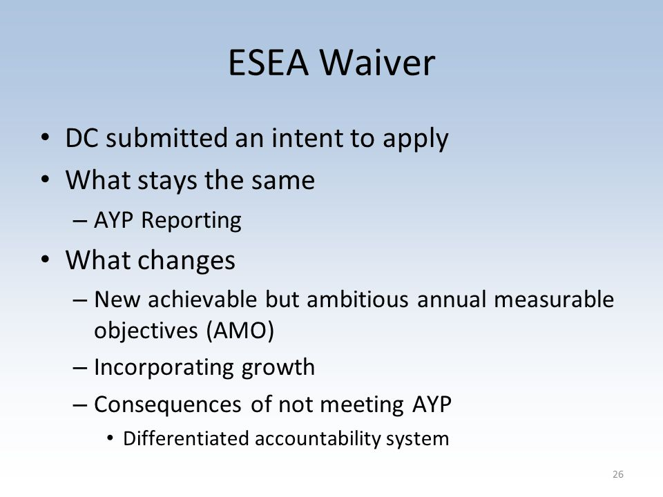 ESEA Waiver DC submitted an intent to apply What stays the same – AYP Reporting What changes – New achievable but ambitious annual measurable objectives (AMO) – Incorporating growth – Consequences of not meeting AYP Differentiated accountability system 26