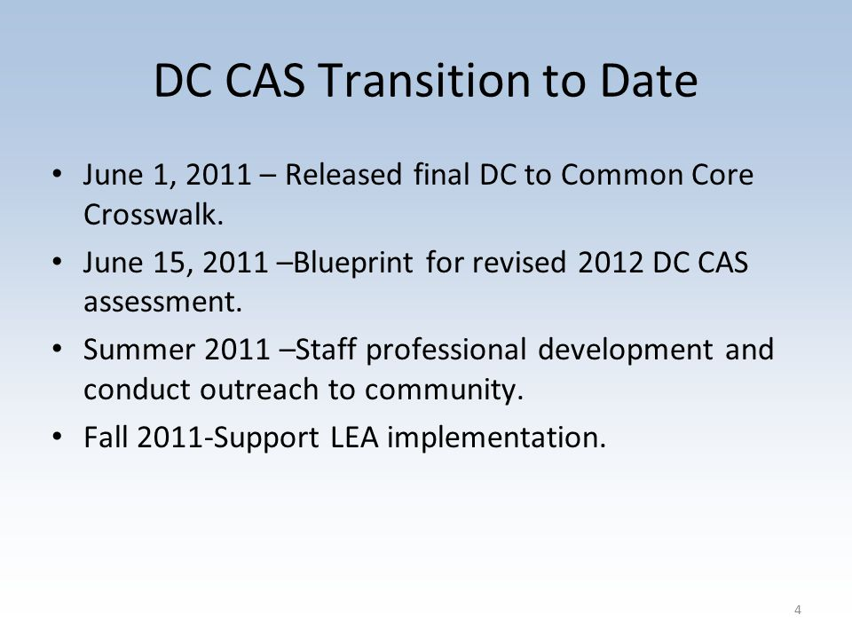DC CAS Transition to Date June 1, 2011 – Released final DC to Common Core Crosswalk.