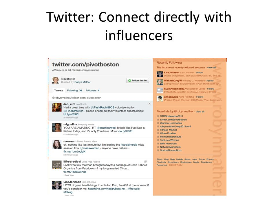 Twitter: Connect directly with influencers