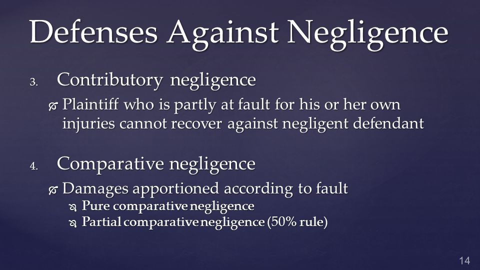 Defenses Against Negligence 3.