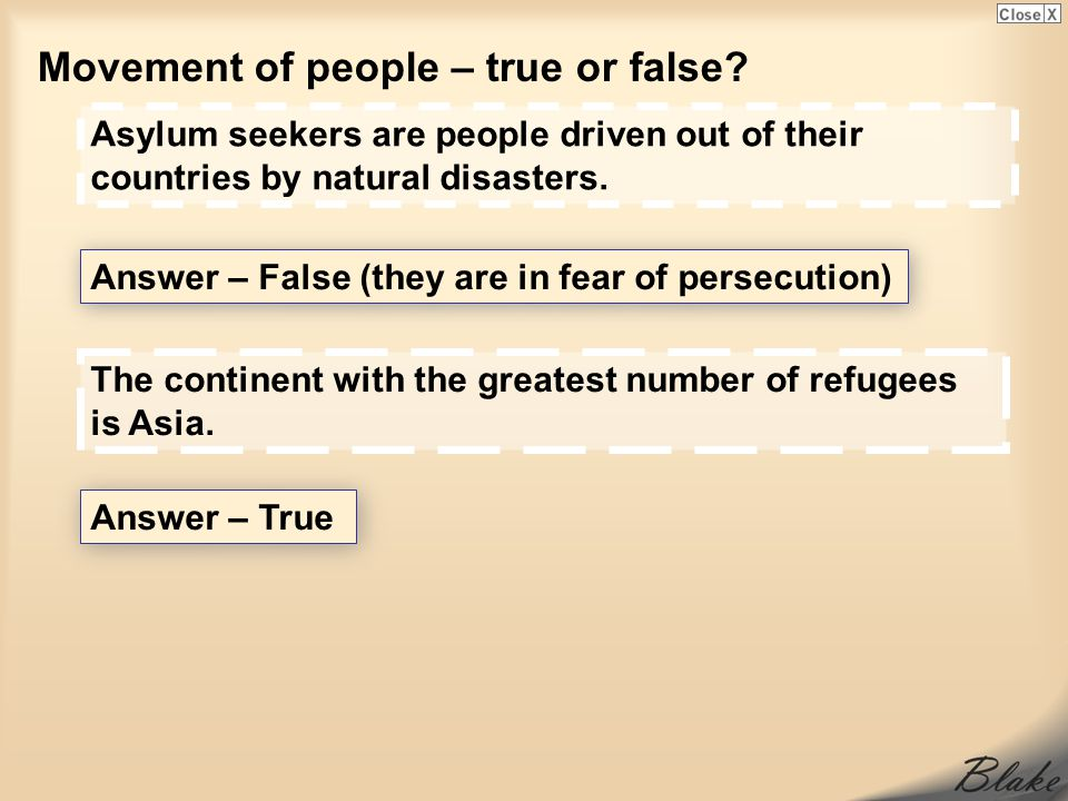 Movement of people – true or false.