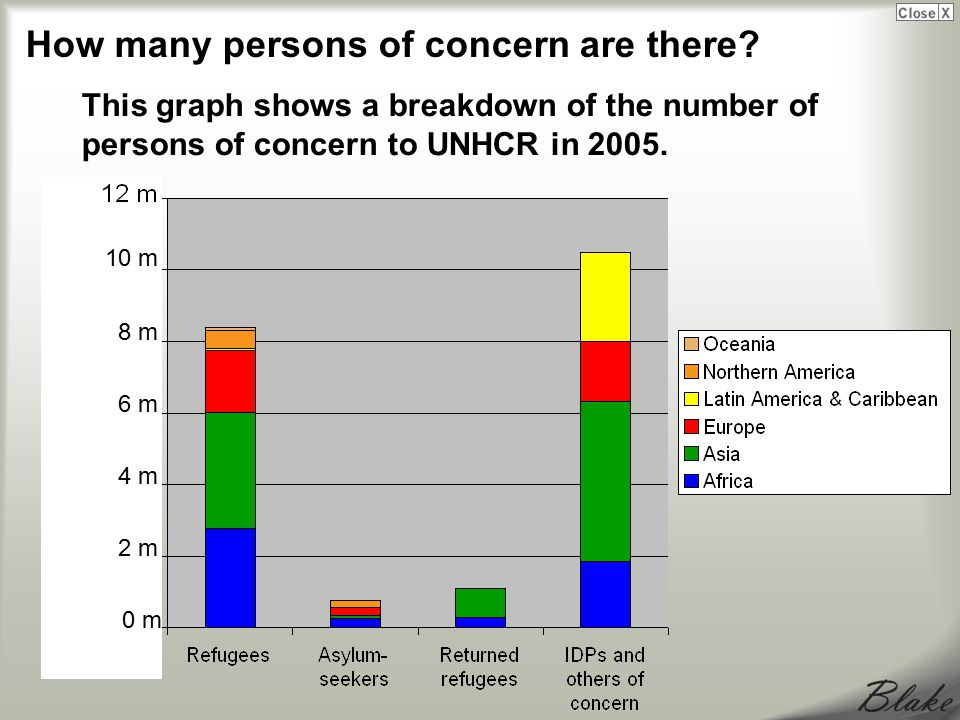 This graph shows a breakdown of the number of persons of concern to UNHCR in 2005.