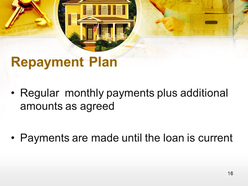 16 Repayment Plan Regular monthly payments plus additional amounts as agreed Payments are made until the loan is current