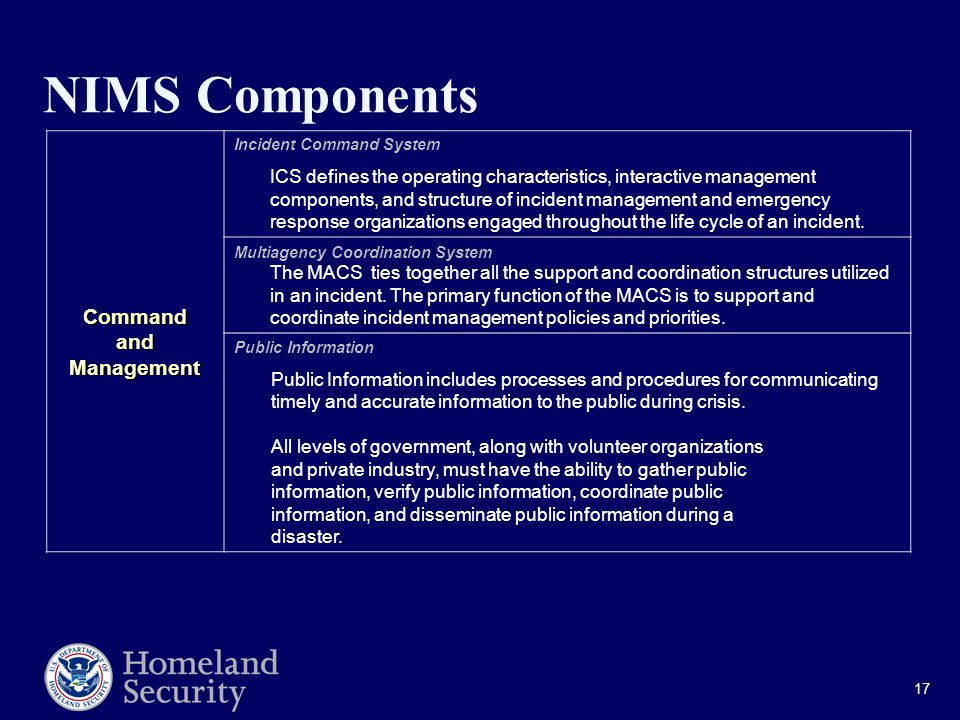 17 NIMS Components CommandandManagement Incident Command System ICS defines the operating characteristics, interactive management components, and structure of incident management and emergency response organizations engaged throughout the life cycle of an incident.