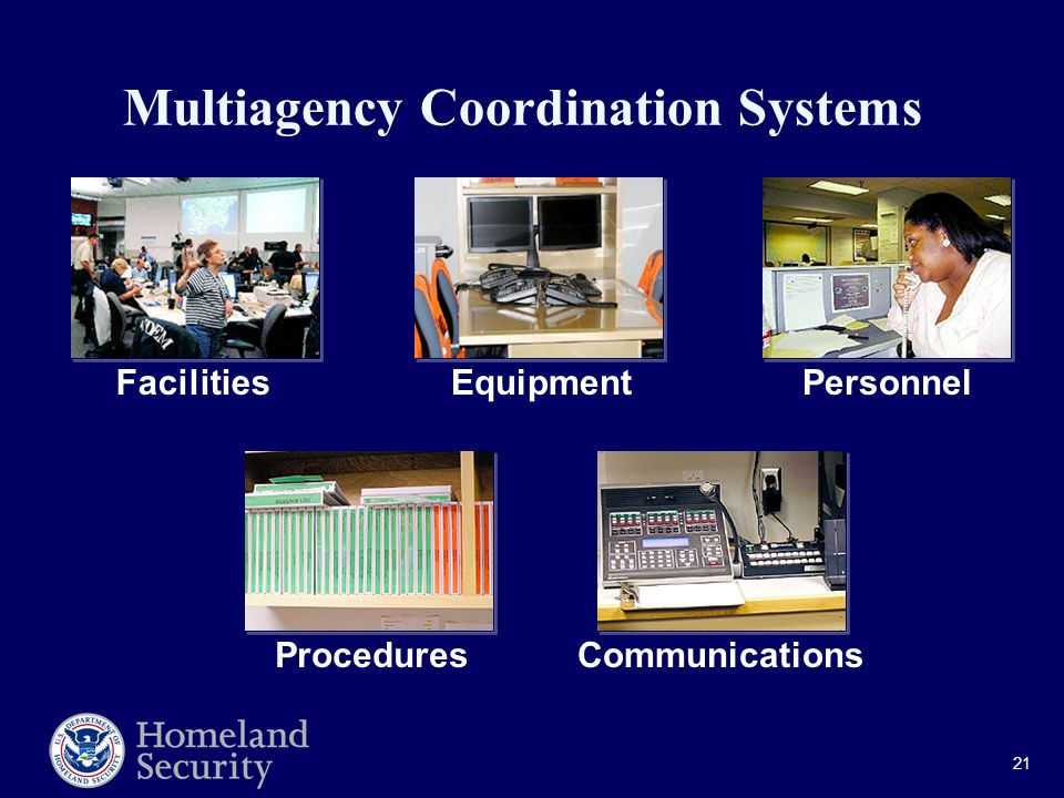 21 Multiagency Coordination Systems FacilitiesEquipmentPersonnel ProceduresCommunications