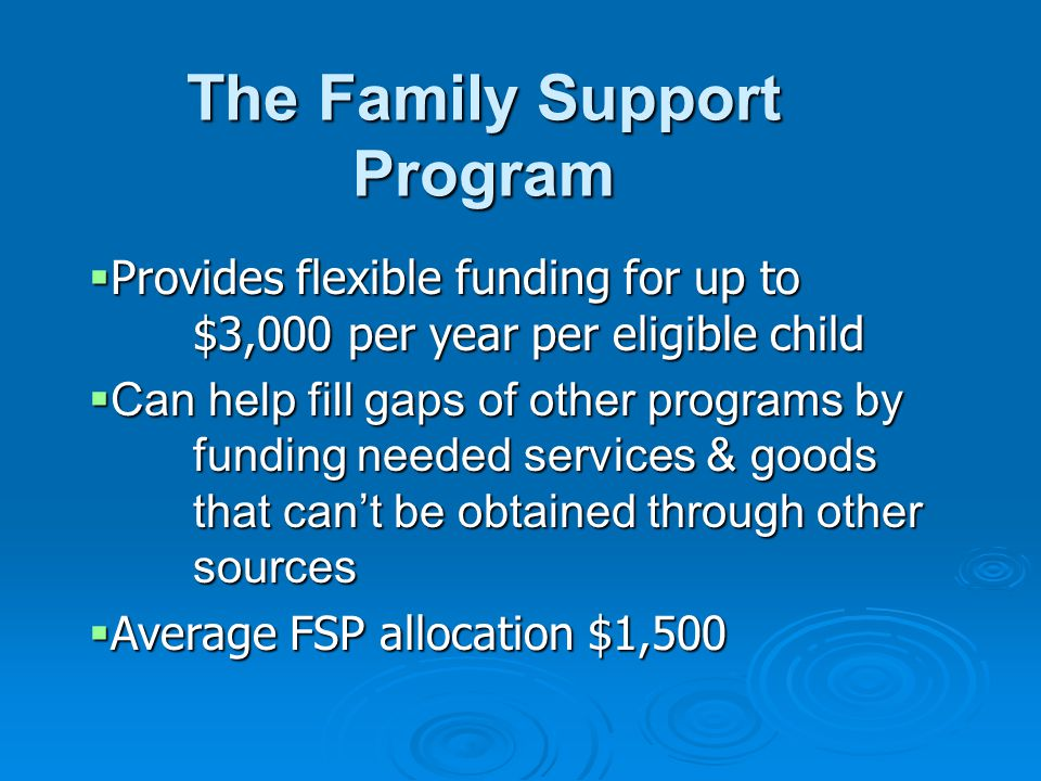 The Family Support Program  Provides flexible funding for up to $3,000 per year per eligible child  Can help fill gaps of other programs by funding needed services & goods that can't be obtained through other sources  Average FSP allocation $1,500