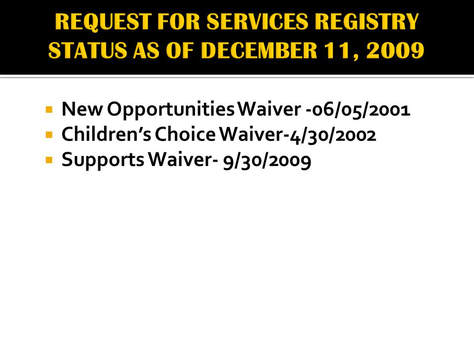  New Opportunities Waiver -06/05/2001  Children's Choice Waiver-4/30/2002  Supports Waiver- 9/30/2009
