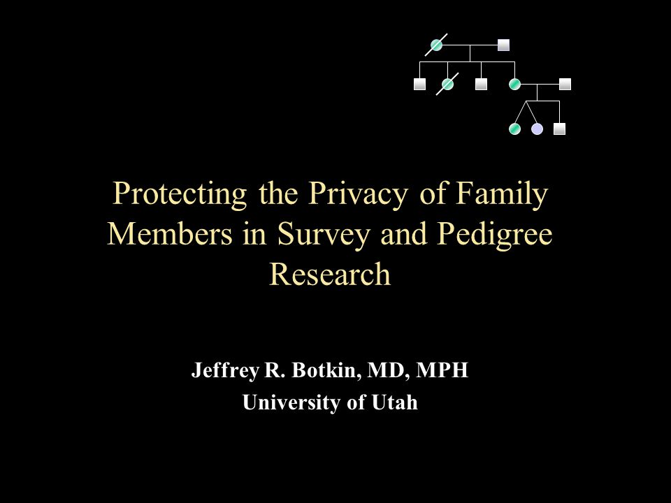 Protecting the Privacy of Family Members in Survey and Pedigree Research Jeffrey R.