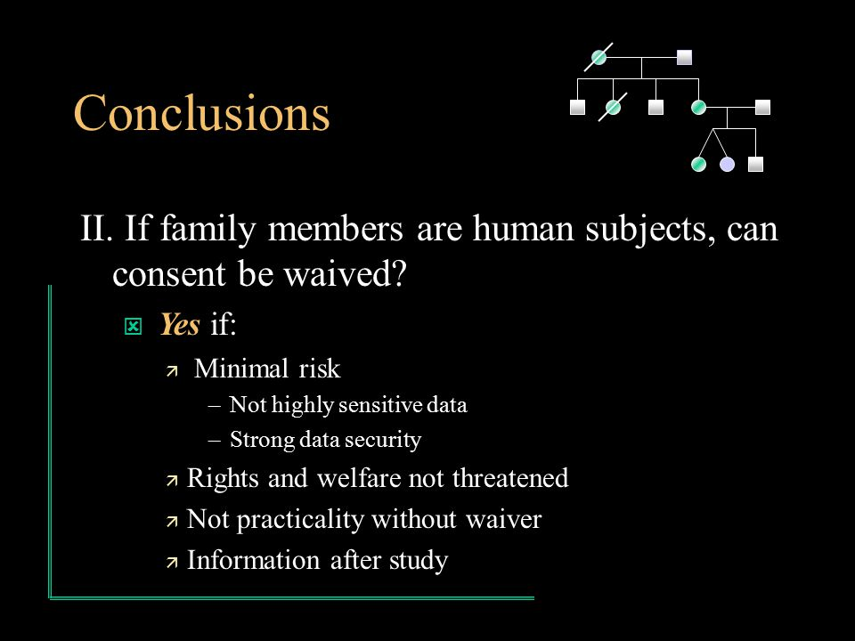 Conclusions II. If family members are human subjects, can consent be waived.