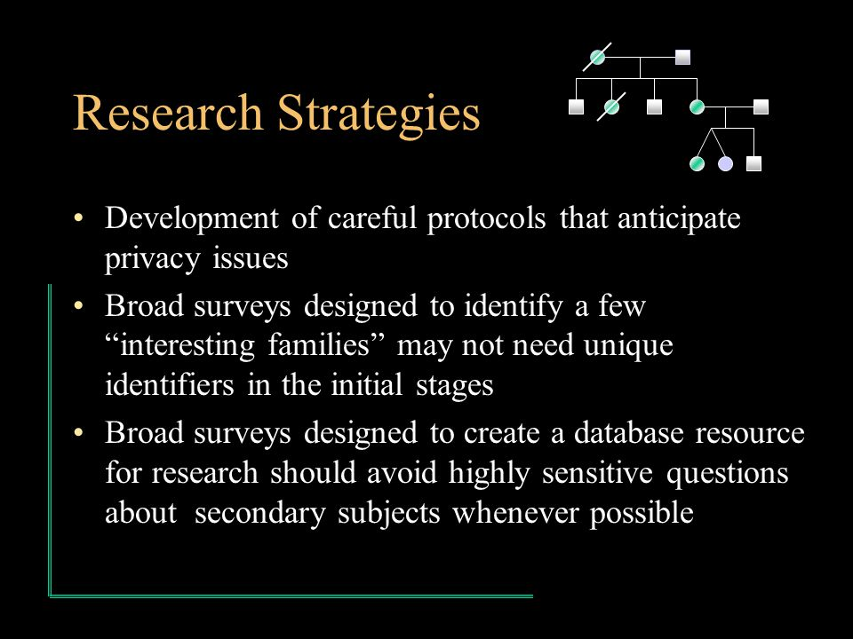 Research Strategies Development of careful protocols that anticipate privacy issues Broad surveys designed to identify a few interesting families may not need unique identifiers in the initial stages Broad surveys designed to create a database resource for research should avoid highly sensitive questions about secondary subjects whenever possible