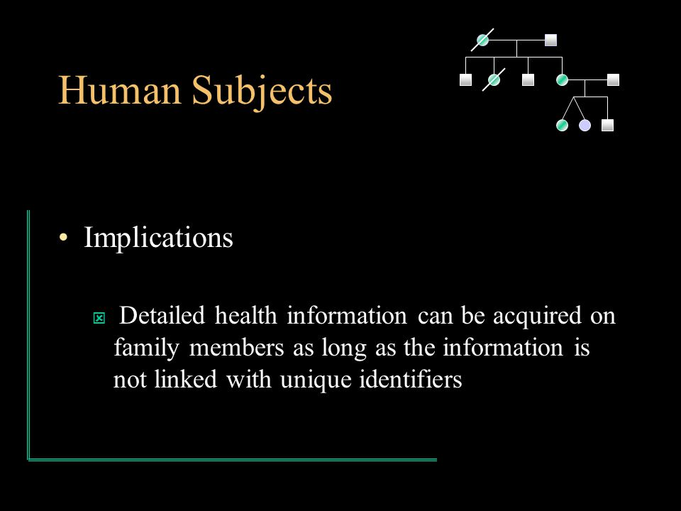 Human Subjects Implications ý Detailed health information can be acquired on family members as long as the information is not linked with unique identifiers
