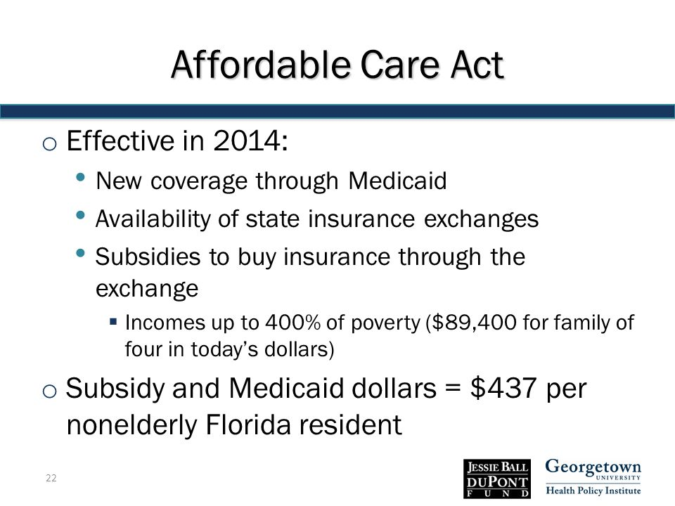 Affordable Care Act o Effective in 2014: New coverage through Medicaid Availability of state insurance exchanges Subsidies to buy insurance through the exchange  Incomes up to 400% of poverty ($89,400 for family of four in today's dollars) o Subsidy and Medicaid dollars = $437 per nonelderly Florida resident 22