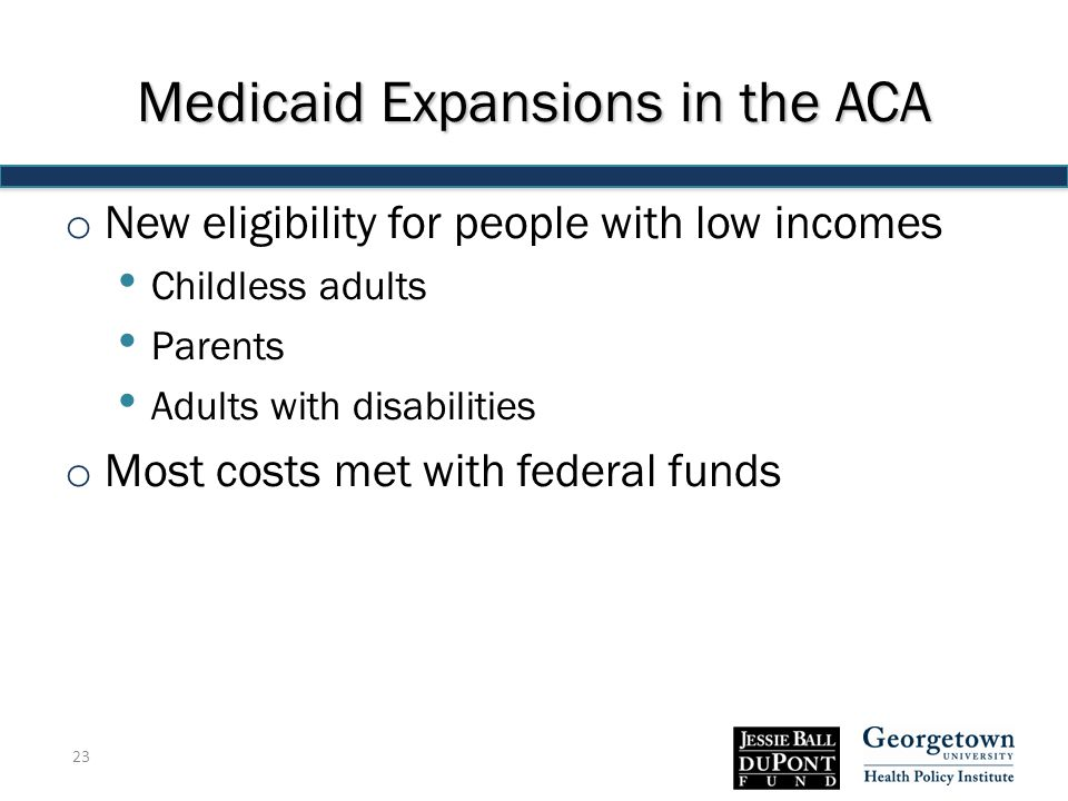Medicaid Expansions in the ACA o New eligibility for people with low incomes Childless adults Parents Adults with disabilities o Most costs met with federal funds 23