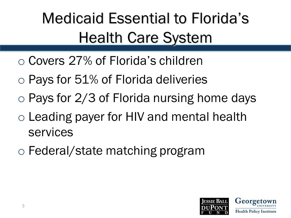 Medicaid Essential to Florida's Health Care System o Covers 27% of Florida's children o Pays for 51% of Florida deliveries o Pays for 2/3 of Florida nursing home days o Leading payer for HIV and mental health services o Federal/state matching program 3