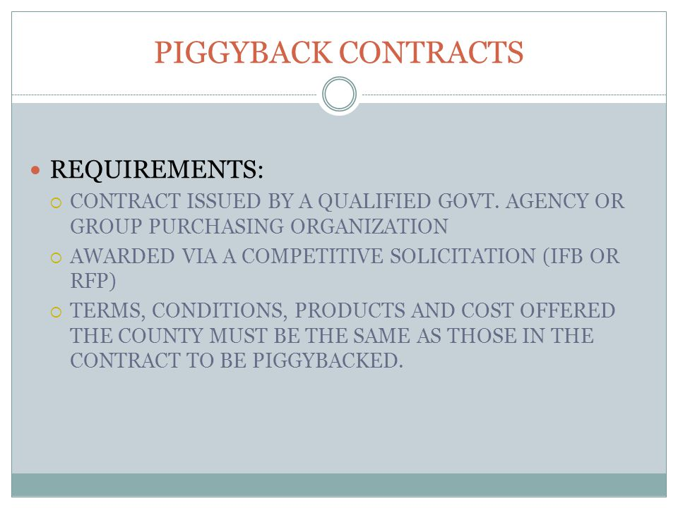 REQUIREMENTS:  CONTRACT ISSUED BY A QUALIFIED GOVT.