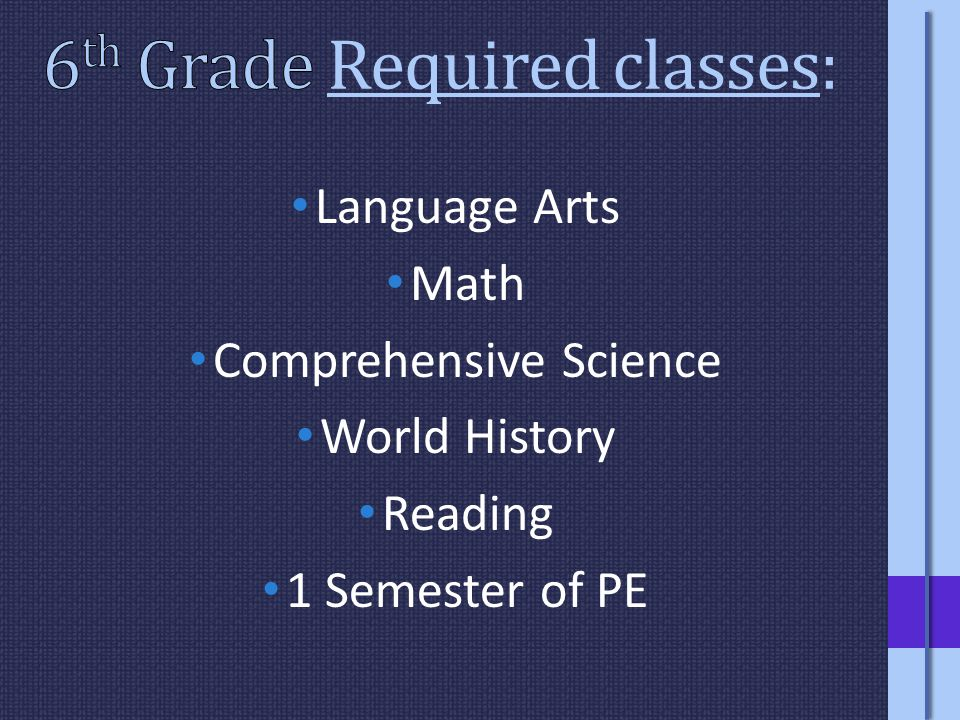 Language Arts Math Comprehensive Science World History Reading 1 Semester of PE