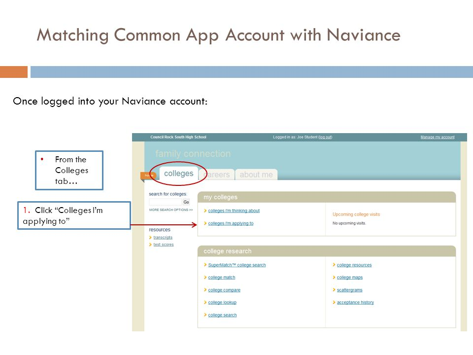 Matching Common App Account with Naviance 1.