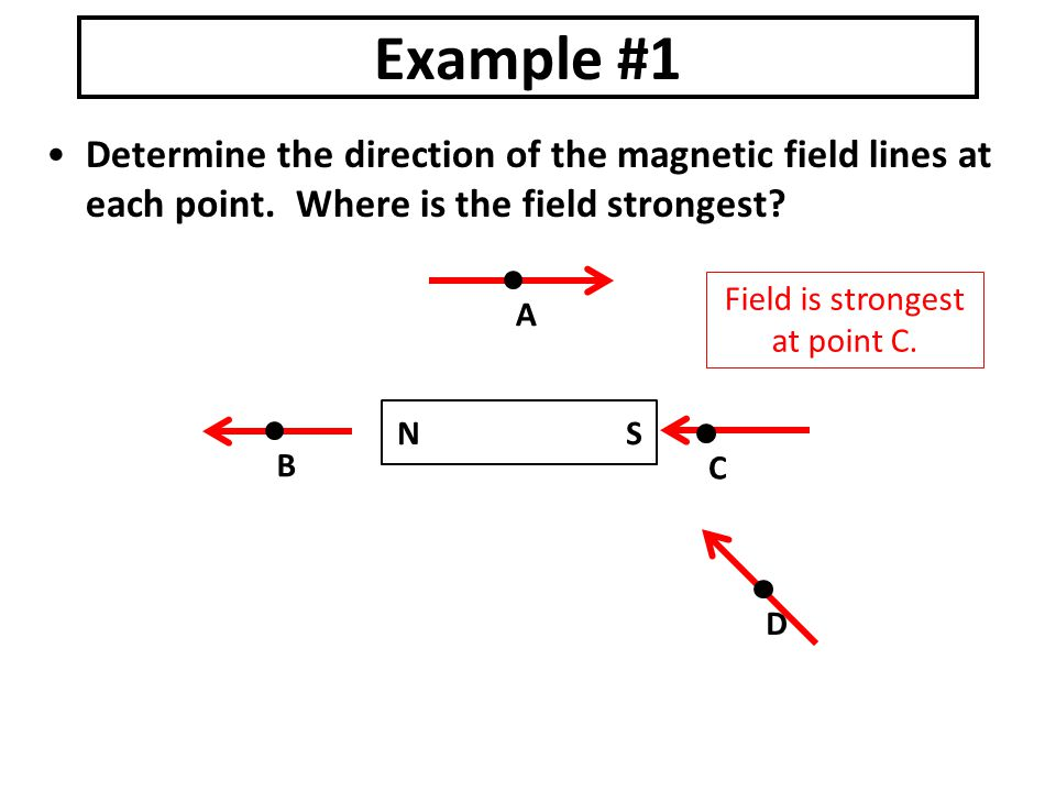 N S Determine the direction of the magnetic field lines at each point.