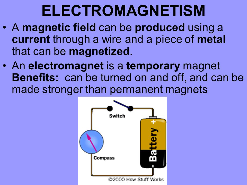 ELECTROMAGNETISM A magnetic field can be produced using a current through a wire and a piece of metal that can be magnetized.