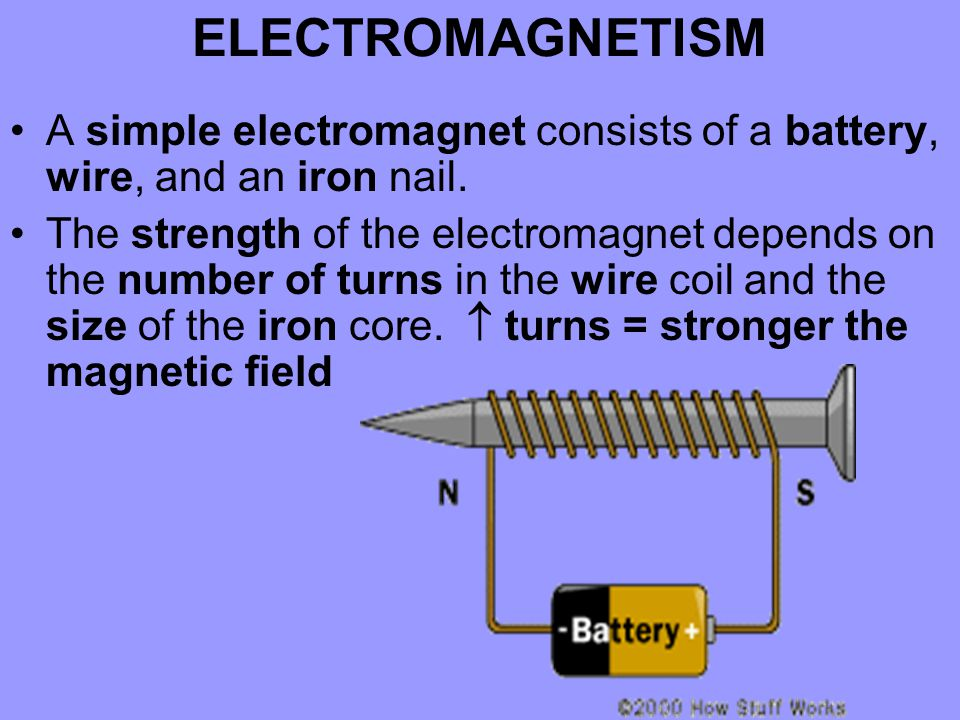 ELECTROMAGNETISM A simple electromagnet consists of a battery, wire, and an iron nail.