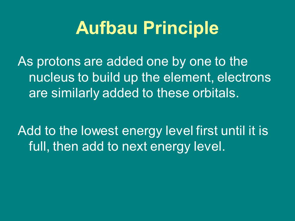 Aufbau Principle As protons are added one by one to the nucleus to build up the element, electrons are similarly added to these orbitals.