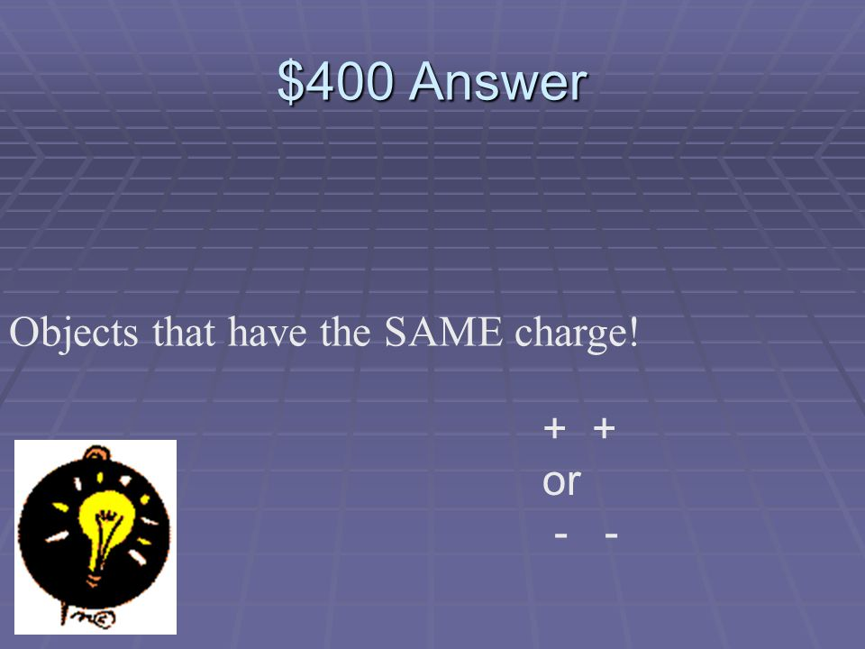 $400 Question Which objects will repel each other