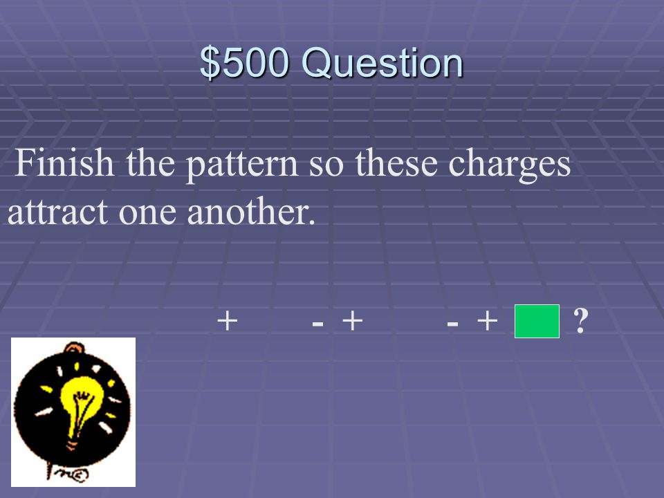 $400 Answer Objects that have the SAME charge! + or - -