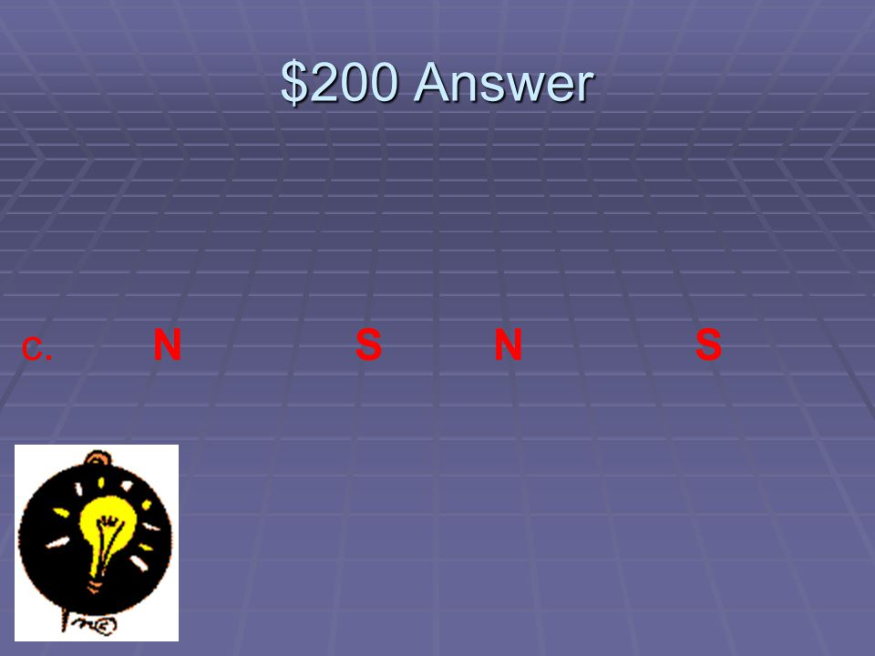 $200 Question Which pattern is correctly labeled a. N N S S b. S N N N c. N S N S d. S N S S