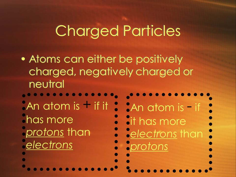 Charged Particles Atoms can either be positively charged, negatively charged or neutral An atom is + if it has more protons than electrons An atom is - if it has more electrons than protons