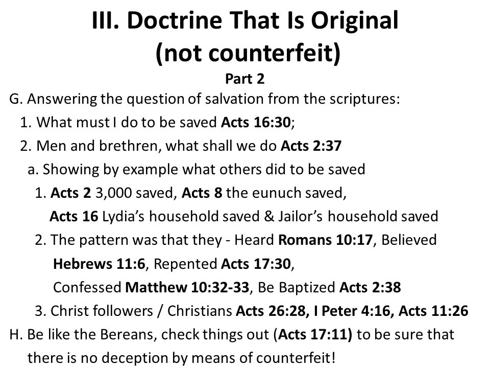 III. Doctrine That Is Original (not counterfeit) Part 2 G.