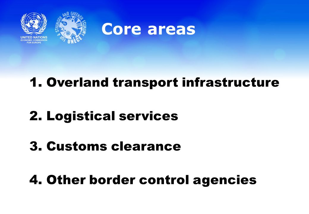 Core areas 1. Overland transport infrastructure 2.